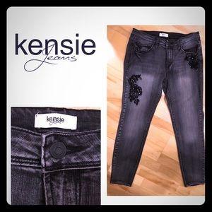 Kensie Skinny Ankle Crop Jeans Black Wash
